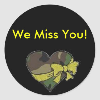 camo heart, We Miss You! Classic Round Sticker