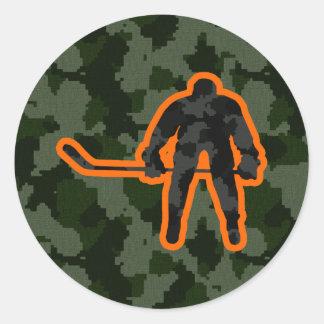 Camo Hockey Round Sticker