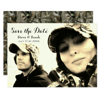 Camo Hunting Couple Save the Date Card