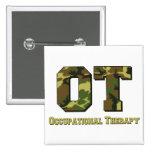 camo letters green 15 cm square badge