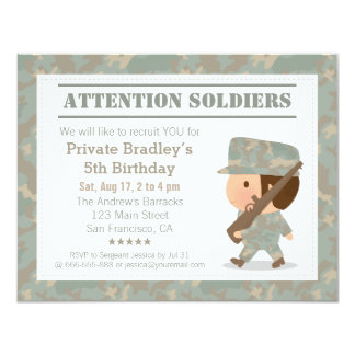 Camo Military Army Soldier Boy Birthday Party 11 Cm X 14 Cm Invitation Card