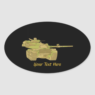 Camo Military Tank Design Oval Sticker