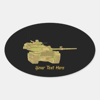 Camo Military Tank Design Oval Stickers