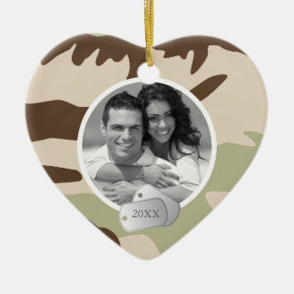 Camo Pattern and Dog Tags Photo Ceramic Heart Decoration