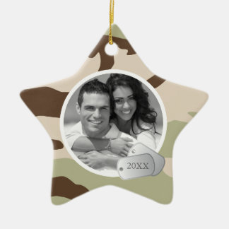 Camo Pattern and Dog Tags Photo Ceramic Star Decoration