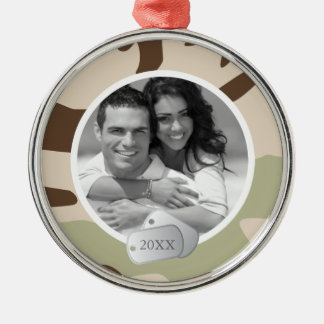 Camo Pattern and Dog Tags Photo Silver-Colored Round Decoration