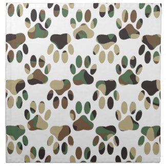 Camo Pattern Dog Paw Print Napkin