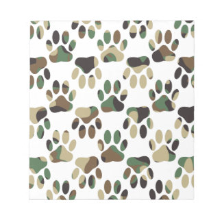 Camo Pattern Dog Paw Print Notepad