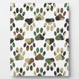 Camo Pattern Dog Paw Print Plaque