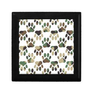 Camo Pattern Dog Paw Print Small Square Gift Box