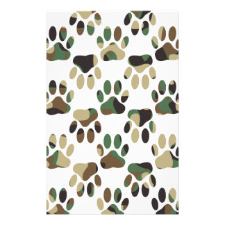 Camo Pattern Dog Paw Print Stationery