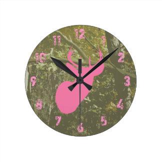 Camo & Pink Deer Clock