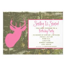 Camo & Pink Deer Head Birthday Party Invite