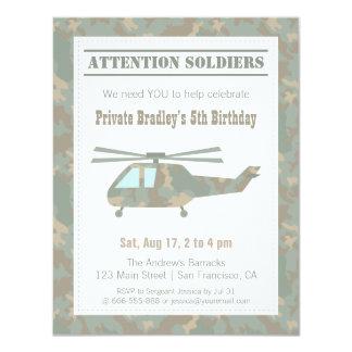 Camo Print Helicopter Army Boys Birthday Party 11 Cm X 14 Cm Invitation Card