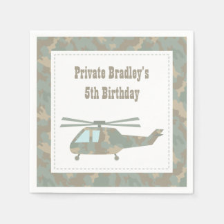 Camo Print Helicopter Army Boys Birthday Party Disposable Napkin