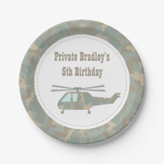 Camo Print Helicopter Army Boys Birthday Party Paper Plate