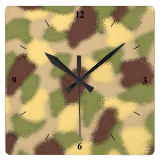 Camo Ripple Square Wall Clock