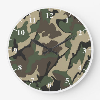 Camo Round Large Wall Clock