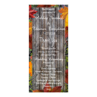 Camo Rustic Wood Fall Leaves Wedding Programs Rack Card