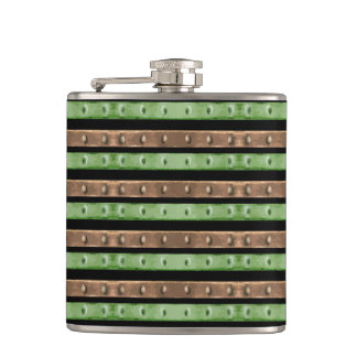 Camo Stripes Print Hip Flask