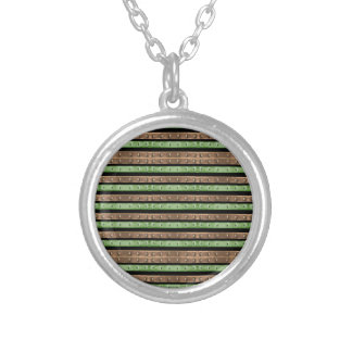 Camo Stripes Print Silver Plated Necklace
