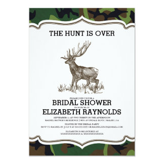 Camo The Hunt is Over Bridal Shower Invitations