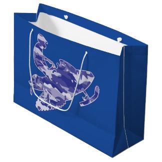 Camoflauge Snowmobiler in Blue Large Gift Bag