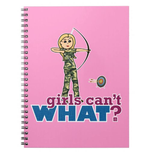 Camouflage Archery Girl - Blonde Spiral Note Books