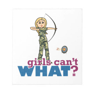 Camouflage Archery Girl - Blonde Memo Note Pads