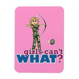 Camouflage Archery Girl - Blonde Rectangular Magnets