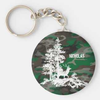 Camouflage Army Military Custom Name Deer Stag Basic Round Button Key Ring