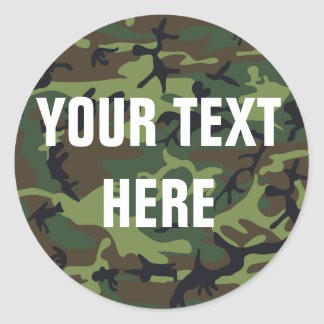 Camouflage Background for Custom Text Classic Round Sticker