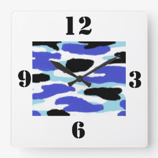 Camouflage Blue, Black and White Large Numbers Square Wall Clock