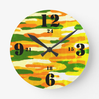 Camouflage Browns and Greens Military Time Round Clock