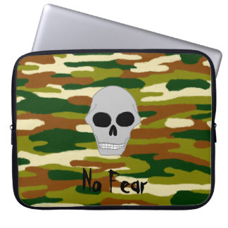 Camouflage Browns and Greens Skull Face No Fear Laptop Sleeve