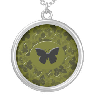 Camouflage Butterflies Silver Plated Necklace