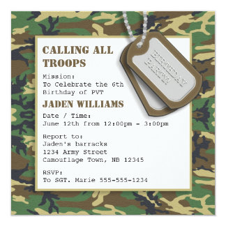 Camouflage / Camo Birthday Party with Dog Tags 13 Cm X 13 Cm Square Invitation Card