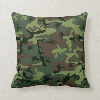 Camouflage Camo Green Brown Pattern Cushion