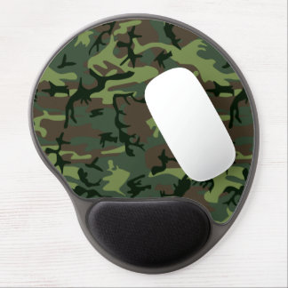 Camouflage Camo Green Brown Pattern Gel Mouse Pad