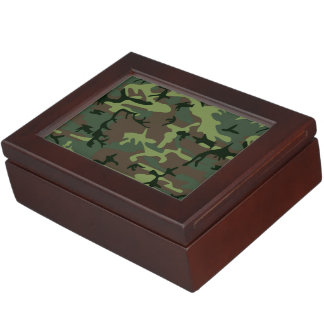 Camouflage Camo Green Brown Pattern Memory Box