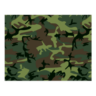 Camouflage Camo Green Brown Pattern Postcard