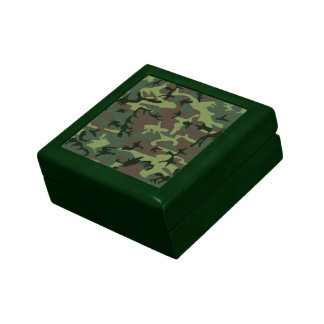 Camouflage Camo Green Brown Pattern Small Square Gift Box