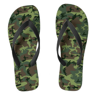 Camouflage Camo Green Brown Pattern Thongs