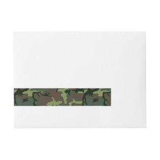 Camouflage Camo Green Brown Pattern Wraparound Address Label