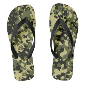 Camouflage Camo Green Yellow Black Thongs