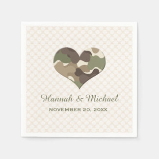 CAMOUFLAGE CAMO HEART WEDDING DISPOSABLE SERVIETTES