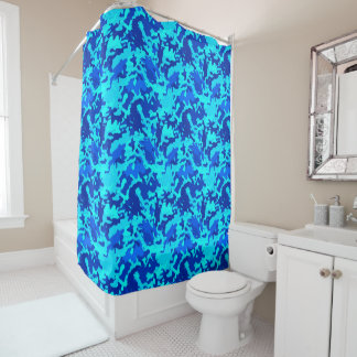 Camouflage Camo Print Blue Shower Curtain