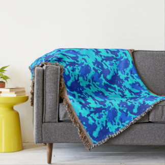 Camouflage Camo Print Blue Throw Blanket