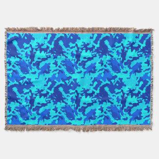 Camouflage Camo Print Blue Throw Blanket