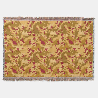 Camouflage Camo Print Desert Orange Red Tan Throw Blanket